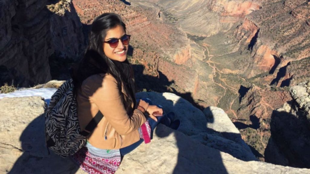 Maham at the Grand Canyon during here exchange visit to the U.S.