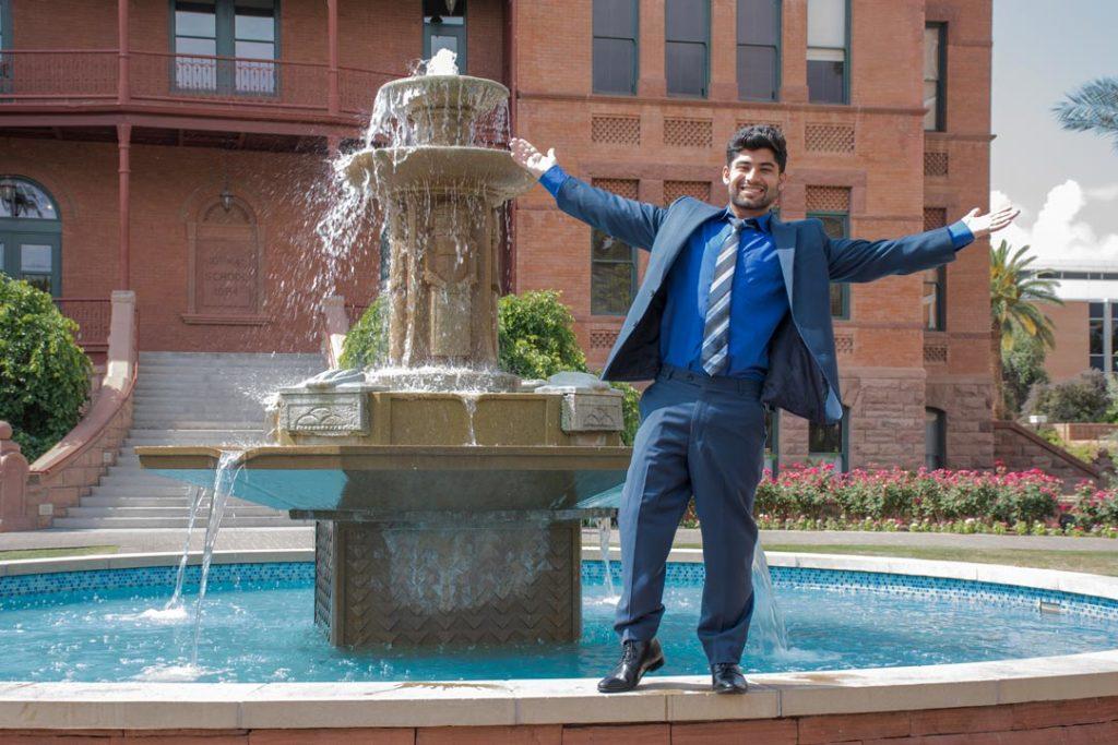 Zeeshan Saeed Shah at Old Main on ASU's Tempe campus
